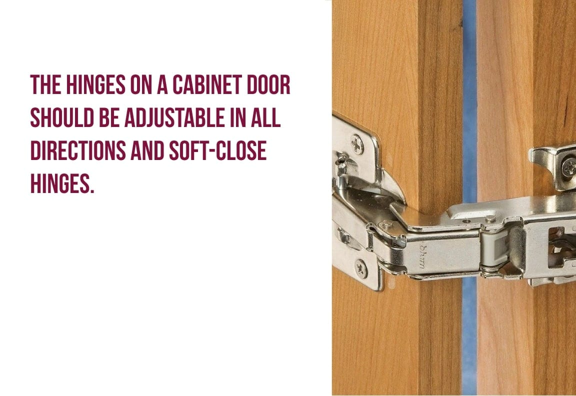 the hinges of a cabinet door should