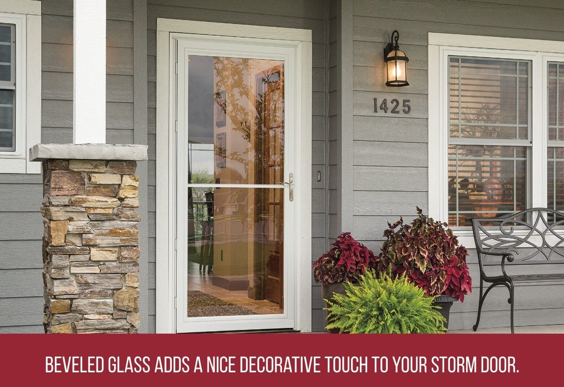 beveled glass adds a decorative touch to a storm door
