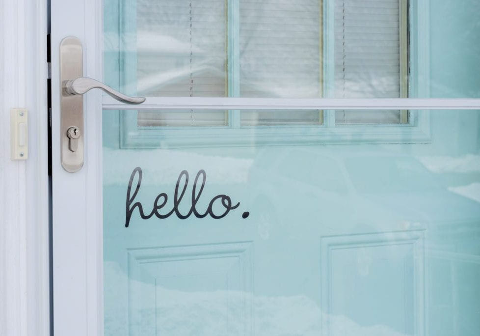Front door exterior with the word hello